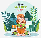 Cute girl reading a book in the garden. Nature landscape background. Summer holidays illustration. Vacation time