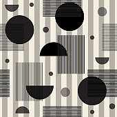 eamless monochrome geometric pattern on stripe background