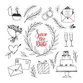 Vector hand drawn illustration with wedding decorations. Bridal design elements. Sketches of floral branches, wedding cake, bouquet, letter, engagement ring. Perfect for greeting cards and invitations