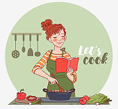 Young woman reading cookbook and cooking. Young woman cooking in the kitchen. Healthy food illustration. Healthy lifestyle concept. Cooking At Home. Prepare Food