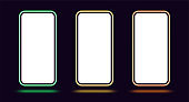 Phone mockup with neon border, green yellow orange color. Modern set of phone templates with creative neon frame