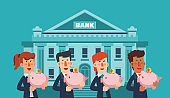 Successful smiling business men and business women with a piggy bank. Saving and investing money concept