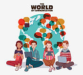 Young people using digital devices. Communication, social media and connection illustration. Travel, vacation, holidays and adventure illustration. World map background. Translating, language interpreter and communication vector concept