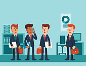 Young business men talking and discussing in the office. Vector illustration of business characters. Teamwork and partnership vector concept