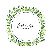 Watercolor botanical illustration. Greenery frame clipart. Frame in circle shape with fresh green leaves and branches. Perfect for wedding invitations, greeting cards, blogs, posters, postcards
