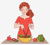 Young woman cooking in the kitchen. Healthy food illustration. Healthy lifestyle concept. Cooking at home. Prepare food