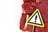 Antibiotics residue and harmful bacteria in meat for human consumption concept, showing chunks of red meat with yellow warning sign