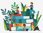 Young people group reading books. Study, learning knowledge and education vector concept