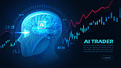Graphic of Artificial intelligence trading stock or forex by analyzing