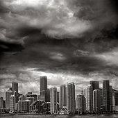spooky Miami cityscape view