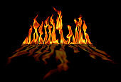 beautiful close up fire flames