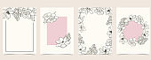 Collection of flower background set with magnolia.Editable vector illustration for website, invitation,postcard and sticker