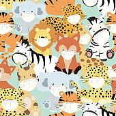 Cute animal seamless pattern with giraffe,zebra,fox is wearing mask.Vector illustration for prevention the spread of bacteria,coronviruses