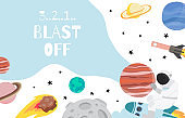 Collection of space background set with astronaut, planet, moon, star,rocket.Editable vector illustration for website, invitation,postcard and sticker.Include wording blast off
