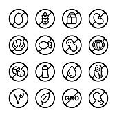 Allergens and diets icon set