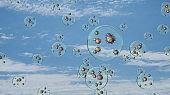 airborn virus floating aroud in droplets on blue sky background