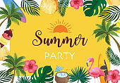Collection of summer background set with fruit,flamingo,coconut tree.Editable vector illustration for New year invitation,postcard and website banner