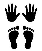 Hand and foot print icons