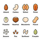 Nuts and seeds icons