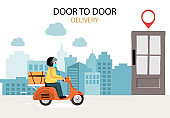 Online delivery contactless service to home,office by bicycle. delivery man is wearing mark to prevent coronavirus