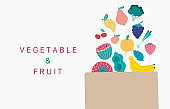 Collection of vegetable,fruit background set with banana, avocado,apple, orange,peper.Editable vector illustration for website, invitation,postcard and sticker
