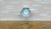 Interior with neon illumination, laser lights on wall, vibrant colors, room illumination, abstract installation, creative background, hexagon shape, 3d rendering