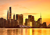 Shanghai city night view, lujiazui financial center sunset