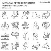 Medical Specialist Occupation and Healthcare Icon Set, Icons Collection for Business Hospital and Clinic, Medicine Professional Physician. Illustration Design
