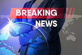 Breaking News Headline for Broadcast Presentation Background, Journalism Report Broadcasting and Global News Communication. Break News Reporter With Graphic Media Backdrop