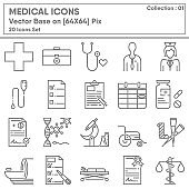 Medical Physician Occupation and Healthcare Icon Set, Icons Collection for Business Medicine Hospital and Insurance. Vector Illustration Design