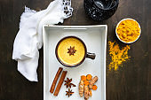Golden milk in a brown cup with ingredients on a white serving tray