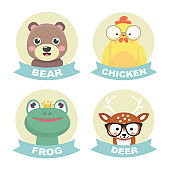 Collection Of Stickers Animals.