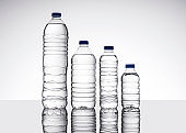 Group of water bottles on isolated white background