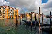 View of Grand Canal at sunset, Venice, Italy
