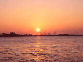 sunset over the harbor in Taiwan