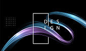Abstract shiny color blue wave design element