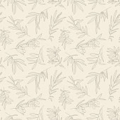 Olive Branch with Leaves and Fruit Seamless Pattern in a Trendy Minimal Style. Floral Green Vector