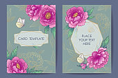 Wedding invitation, poster, greeting card template design with peonies