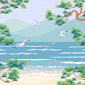 Nature Scene with Sea, Mountains, Pine Branches and Seagulls.