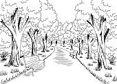 Park graphic black white landscape sketch illustration vector