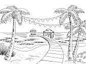 Sea coast beach party graphic black white landscape sketch illustration vector