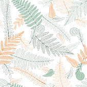 Fern plant graphic color seamless pattern background sketch illustration vector
