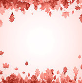 Autumn red oak and maple leaves frame.