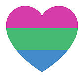 Polysexual pride flag, in heart shape icon on white background, vector illustration