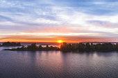 Beautiful sunrise over the river an island