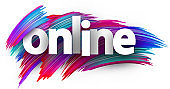 White online sign over brush strokes background.