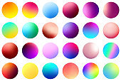 Set of multicolored gradient circles on white background.