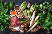 Healthy diet and balanced nutrition ingredients: vegetables, grain and meat. Nutrition, clean eating food concept top view