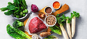 balanced nutrition and healthy diet ingredients. Vegetables, grain and meat. Nutrition, clean eating food concept