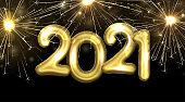 Golden foil balloon 2021 sign with sparkling fireworks.
